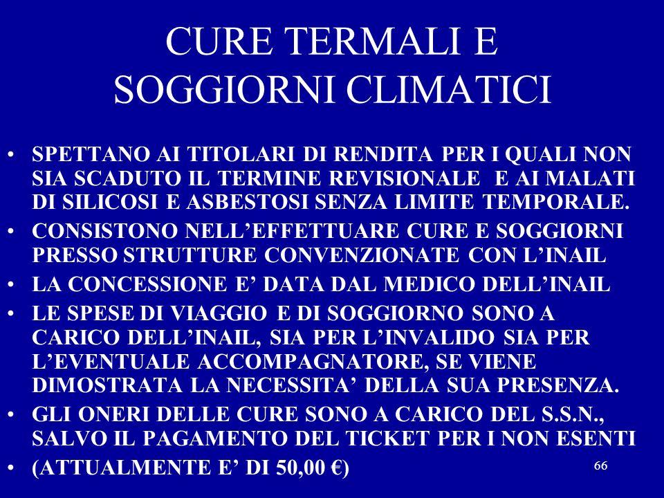 CURE TERMALI E SOGGIORNI CLIMATICI