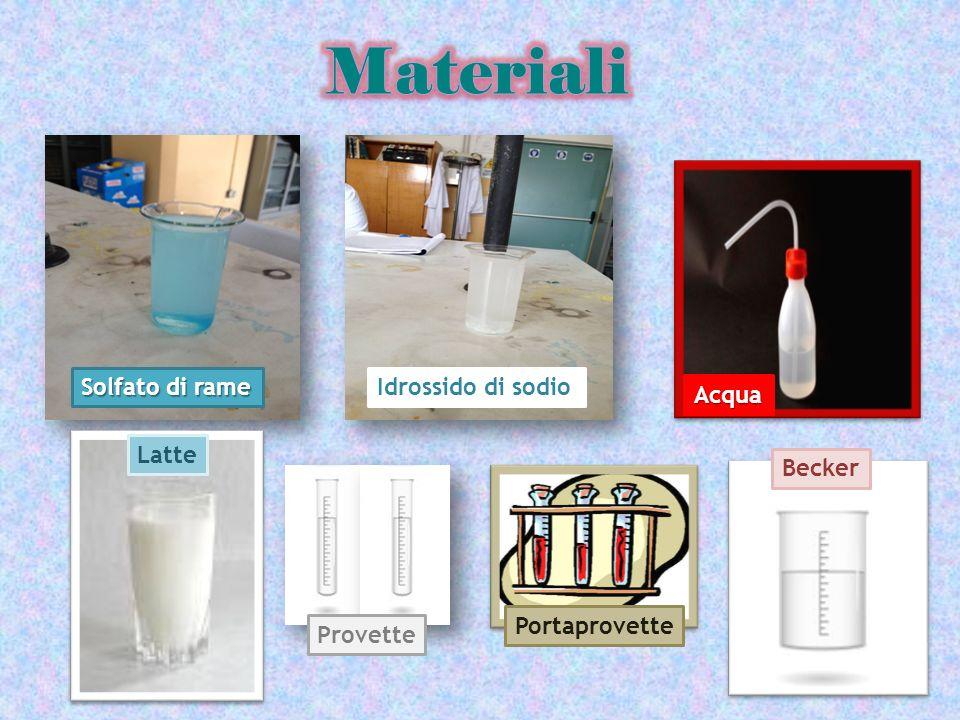 Materiali Solfato di rame Idrossido di sodio Idrossido di sodio Acqua