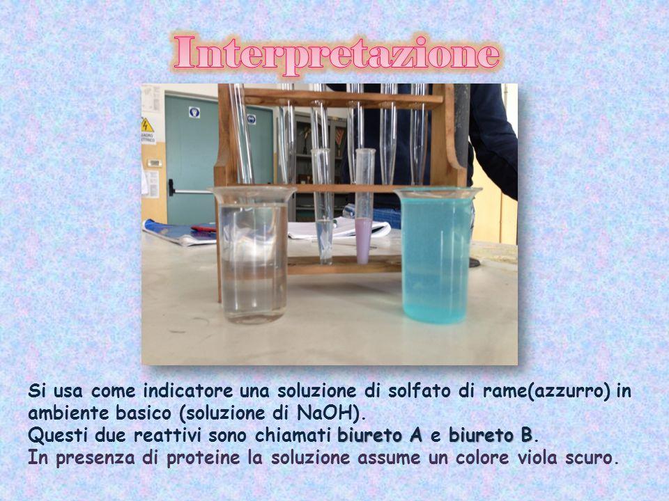 Interpretazione Si usa come indicatore una soluzione di solfato di rame(azzurro) in ambiente basico (soluzione di NaOH).