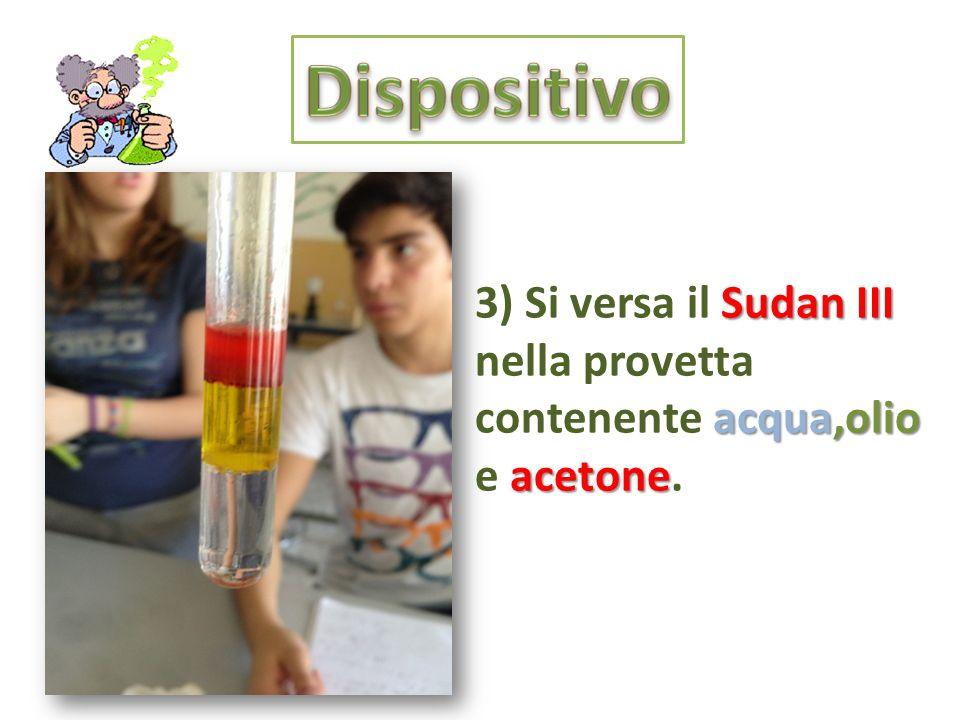 Dispositivo 3) Si versa il Sudan III nella provetta contenente acqua,olio e acetone.