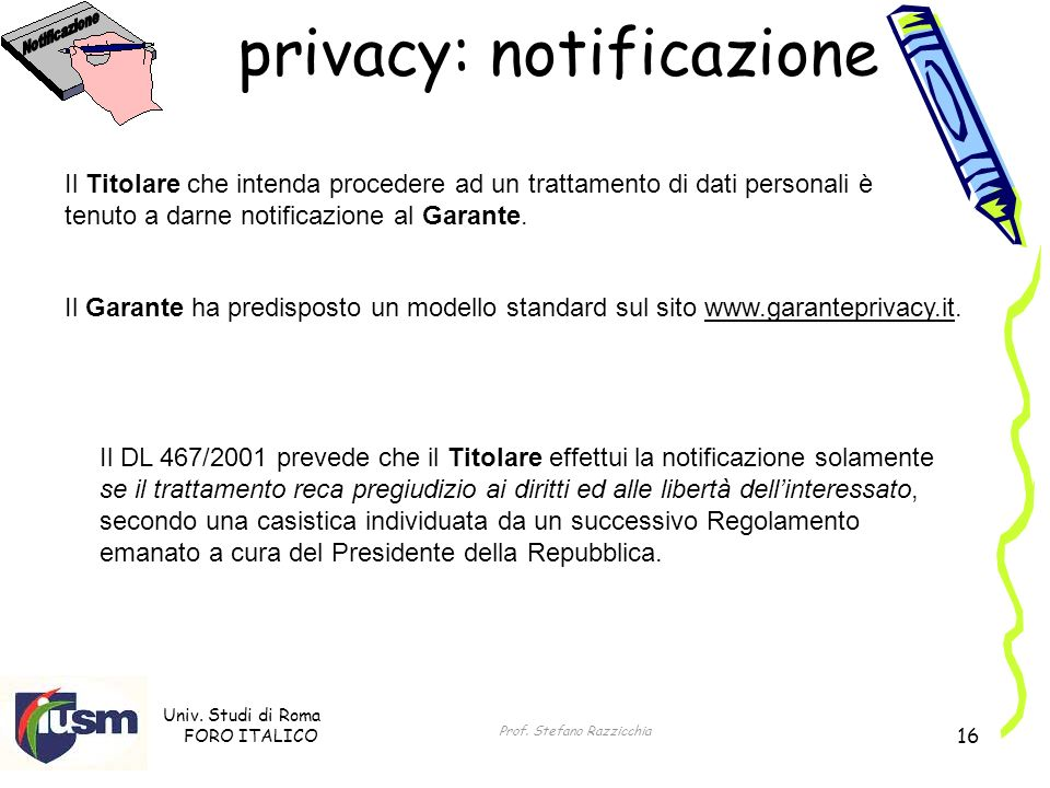 privacy: notificazione