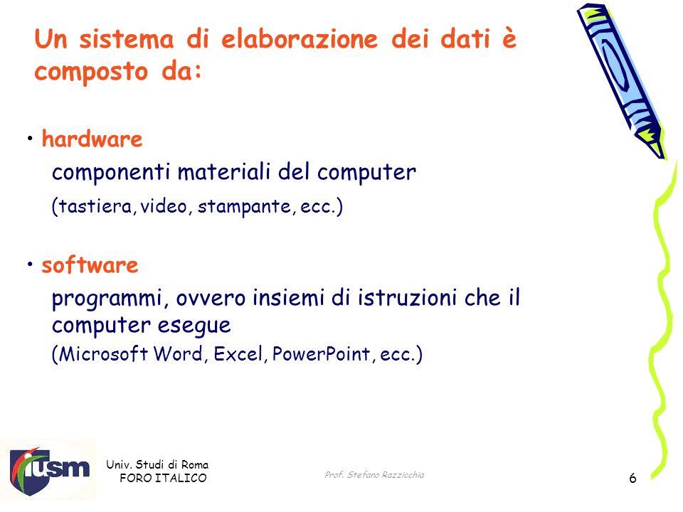 Un sistema di elaborazione dei dati è composto da: