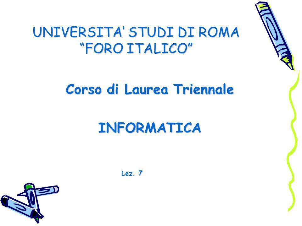 UNIVERSITA' STUDI DI ROMA FORO ITALICO