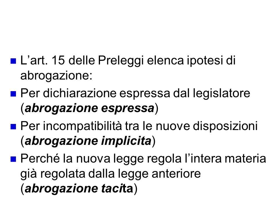 Tipi di abrogazione L'art. 15 delle Preleggi elenca ipotesi di abrogazione: Per dichiarazione espressa dal legislatore (abrogazione espressa)