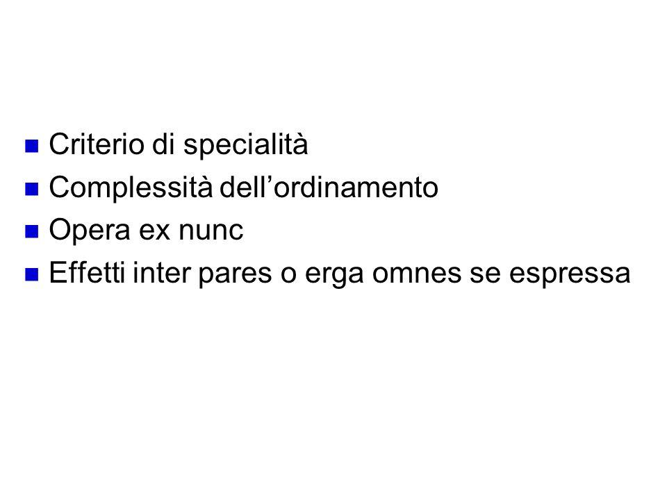 Schema deroga Criterio di specialità Complessità dell'ordinamento