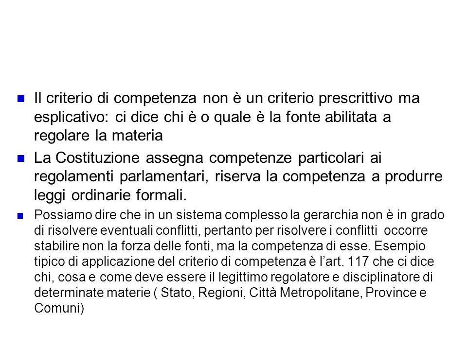Il criterio di competenza e la non applicazione
