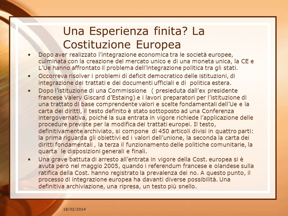 Una Esperienza finita La Costituzione Europea