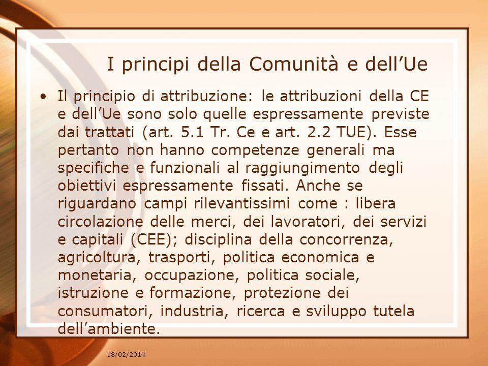 I principi della Comunità e dell'Ue