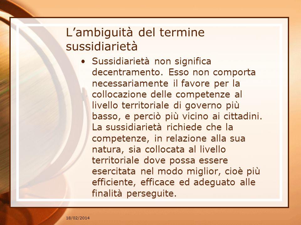 L'ambiguità del termine sussidiarietà