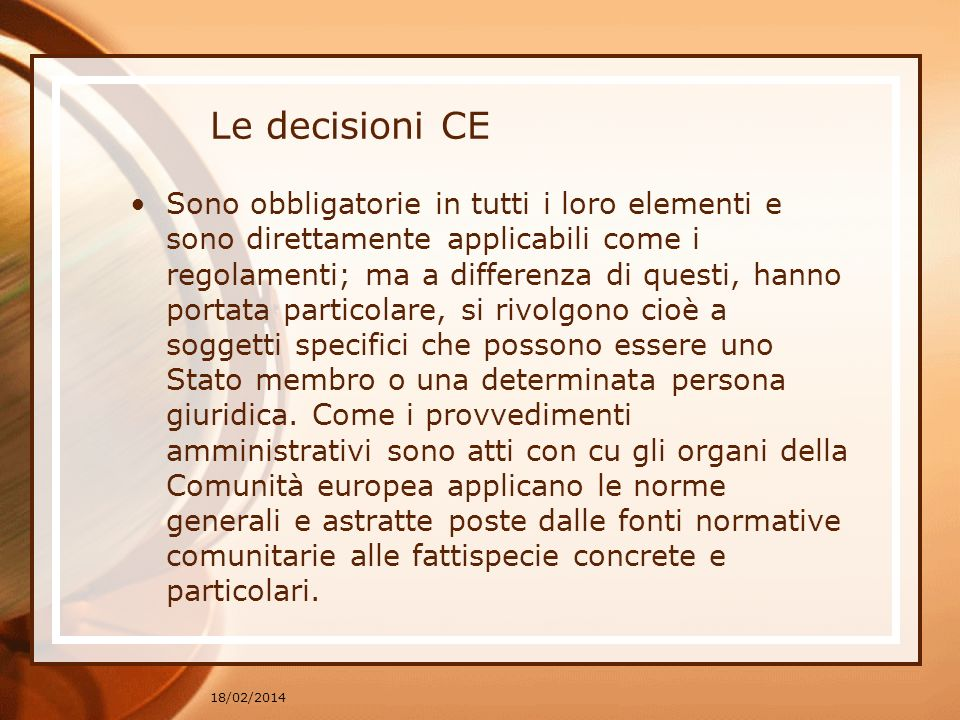 Le decisioni CE
