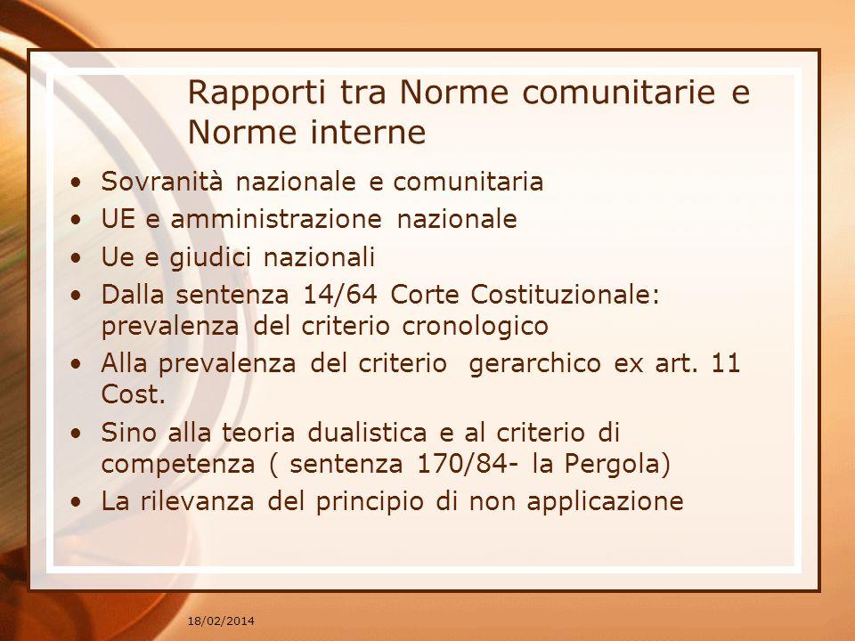 Rapporti tra Norme comunitarie e Norme interne