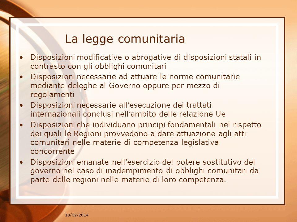 La legge comunitaria Disposizioni modificative o abrogative di disposizioni statali in contrasto con gli obblighi comunitari.