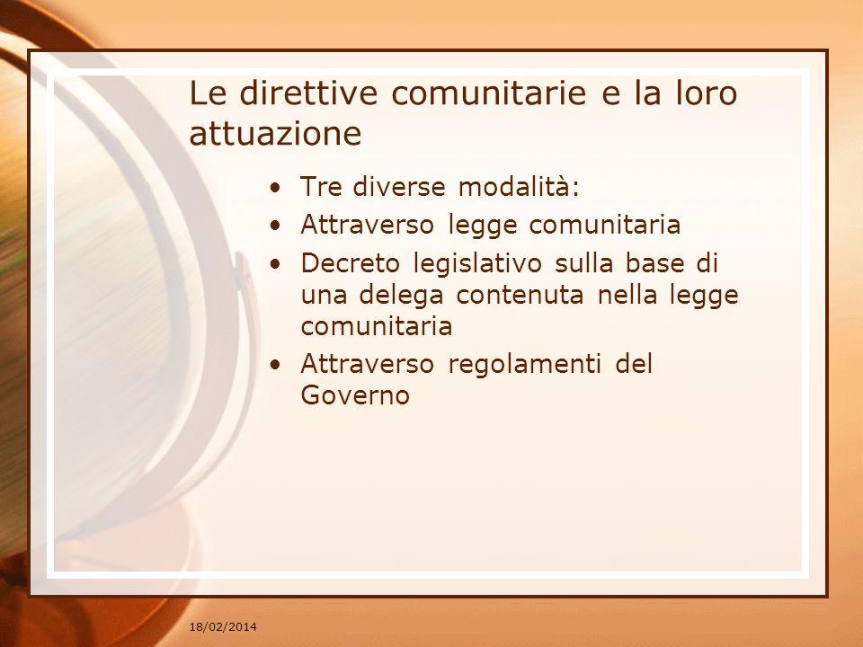 Le direttive comunitarie e la loro attuazione
