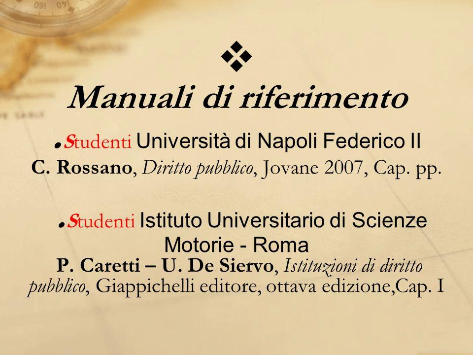 Manuali di riferimento. Studenti Università di Napoli Federico II C