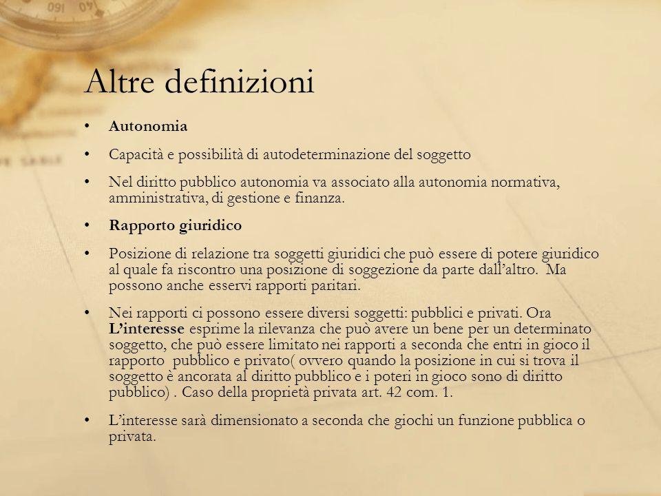 Altre definizioni Autonomia