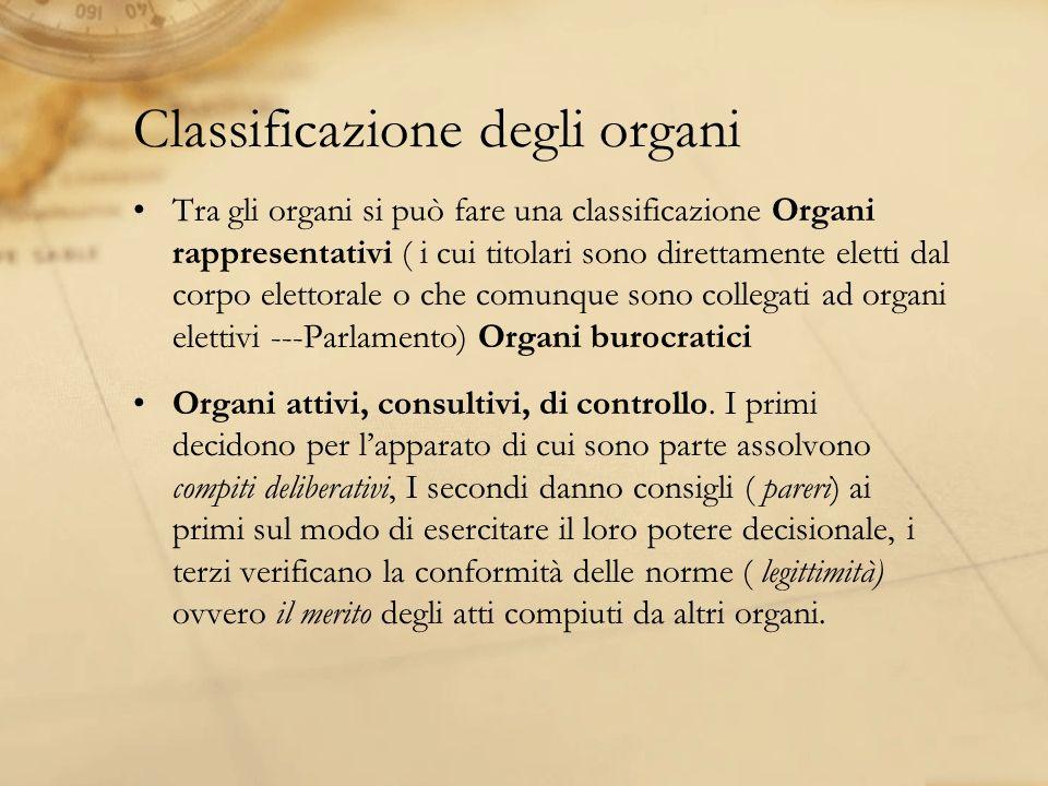Classificazione degli organi