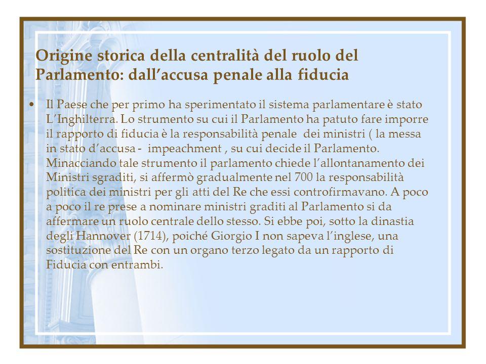 Origine storica della centralità del ruolo del Parlamento: dall'accusa penale alla fiducia