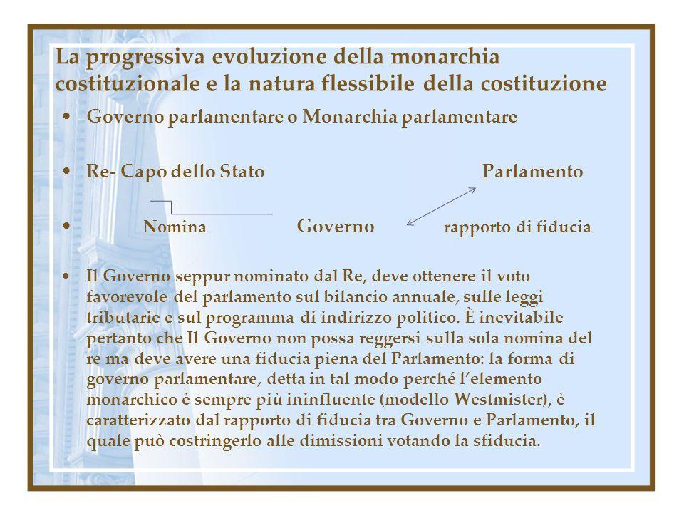La progressiva evoluzione della monarchia costituzionale e la natura flessibile della costituzione