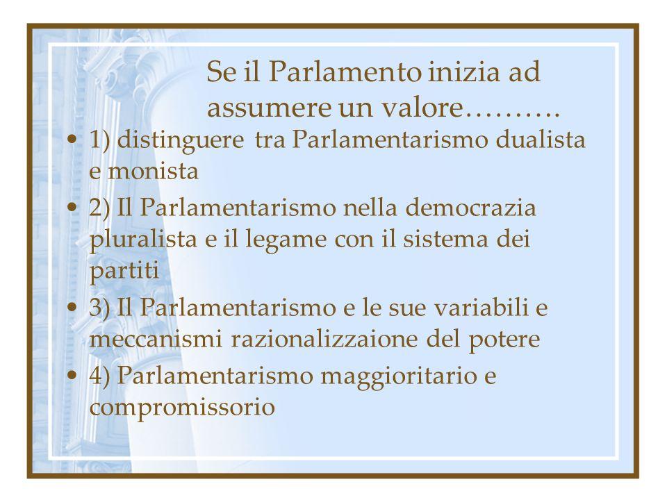 Se il Parlamento inizia ad assumere un valore……….