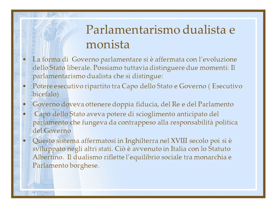 Parlamentarismo dualista e monista