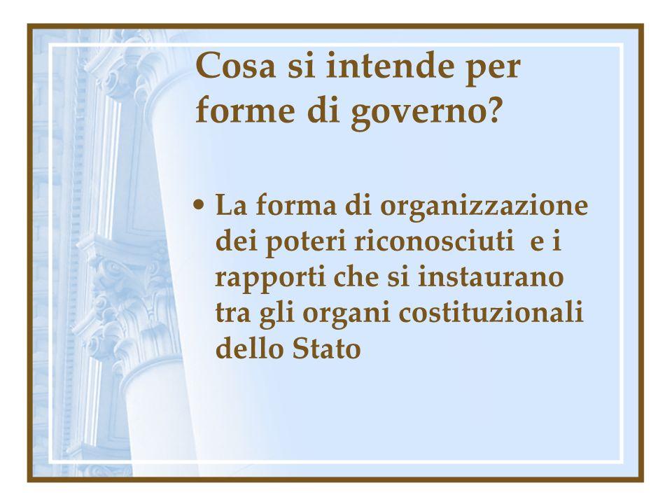Cosa si intende per forme di governo
