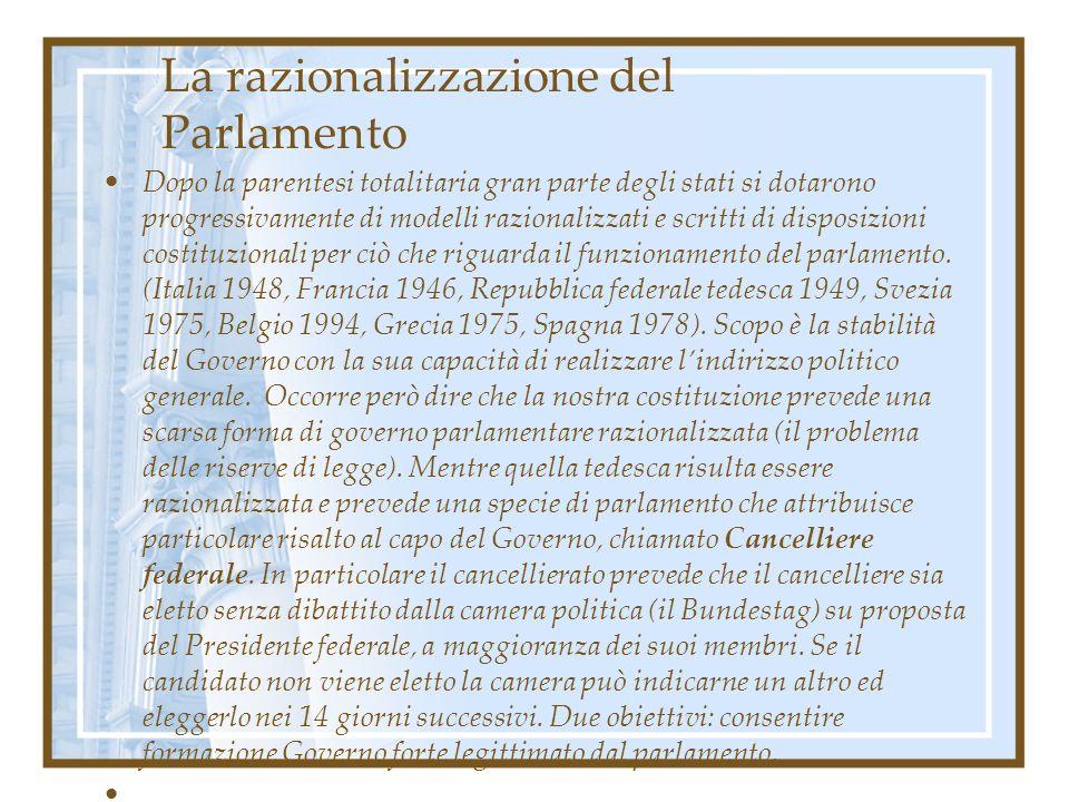 La razionalizzazione del Parlamento