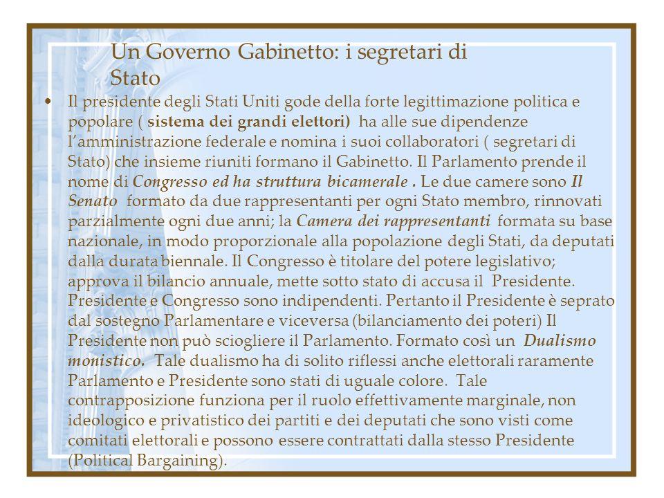 Un Governo Gabinetto: i segretari di Stato