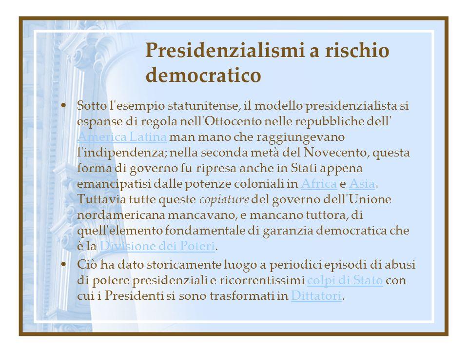 Presidenzialismi a rischio democratico