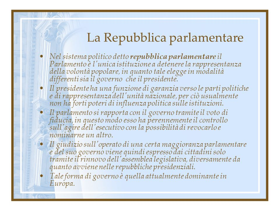 La Repubblica parlamentare