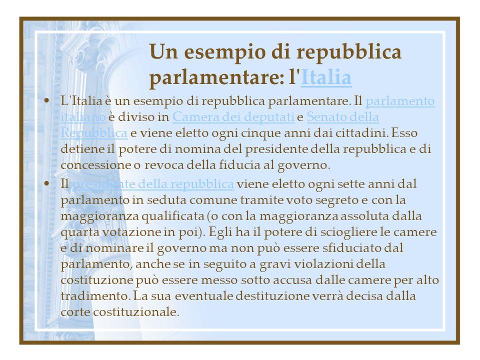 Un esempio di repubblica parlamentare: l Italia