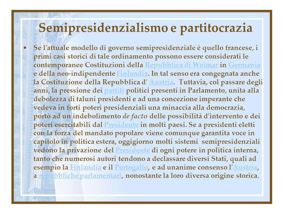 Semipresidenzialismo e partitocrazia