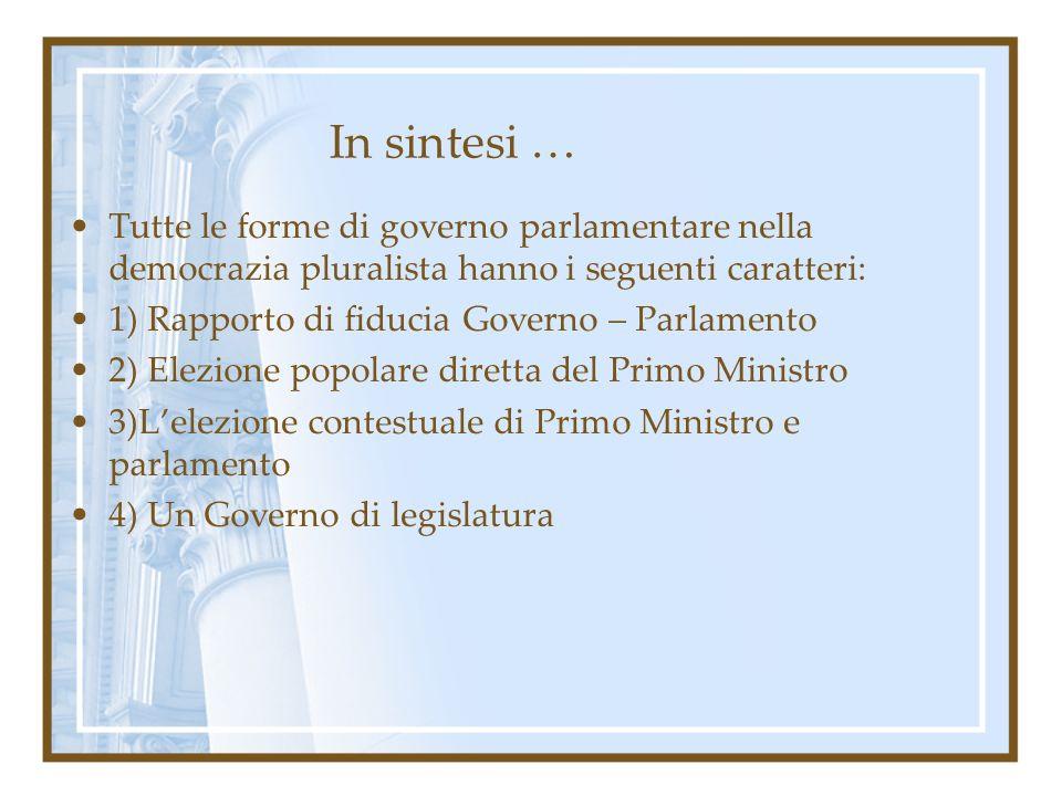 In sintesi … Tutte le forme di governo parlamentare nella democrazia pluralista hanno i seguenti caratteri: