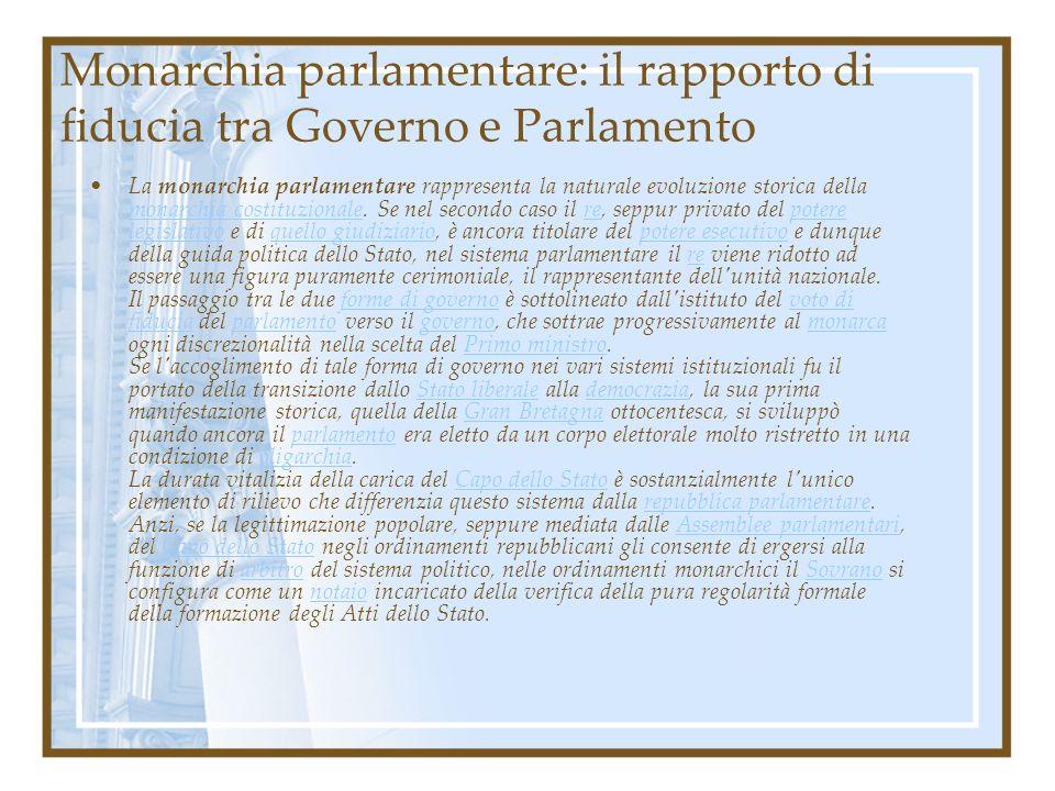 Monarchia parlamentare: il rapporto di fiducia tra Governo e Parlamento