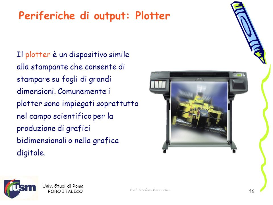 Periferiche di output: Plotter