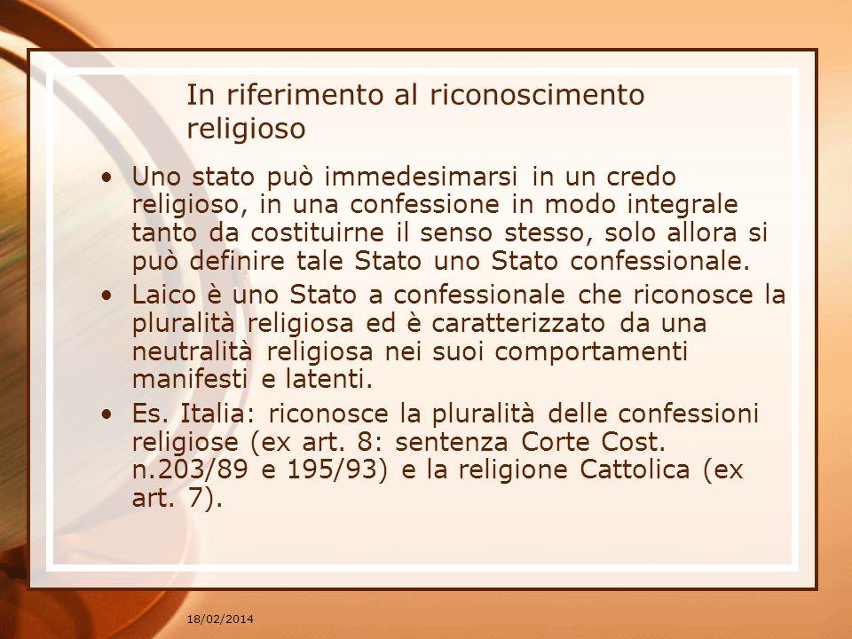 In riferimento al riconoscimento religioso