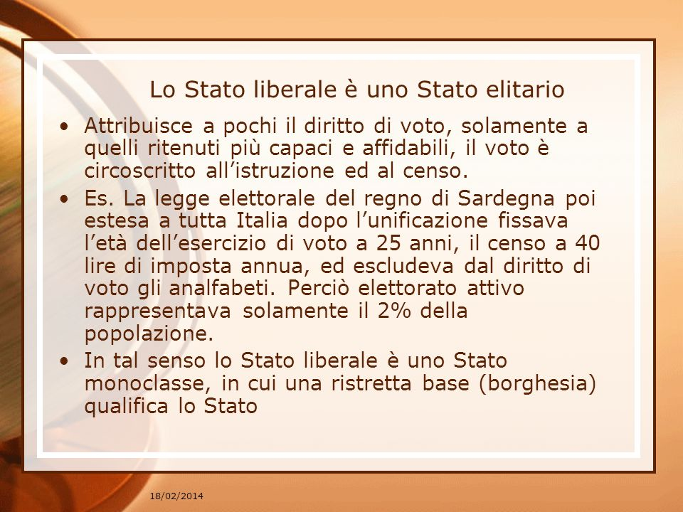 Lo Stato liberale è uno Stato elitario