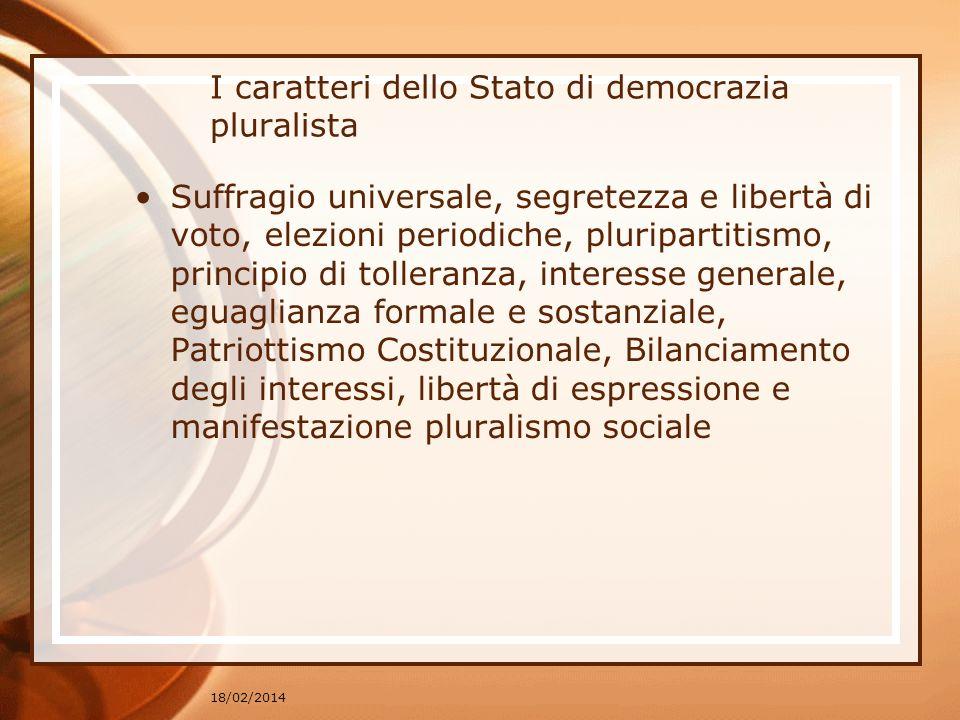 I caratteri dello Stato di democrazia pluralista