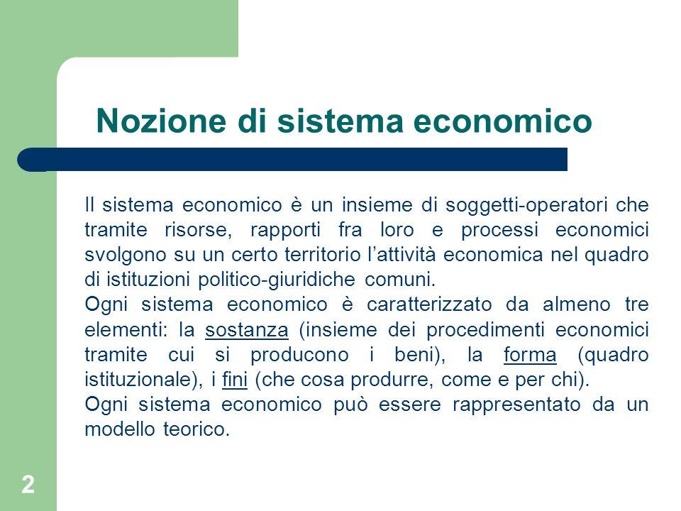 Nozione di sistema economico
