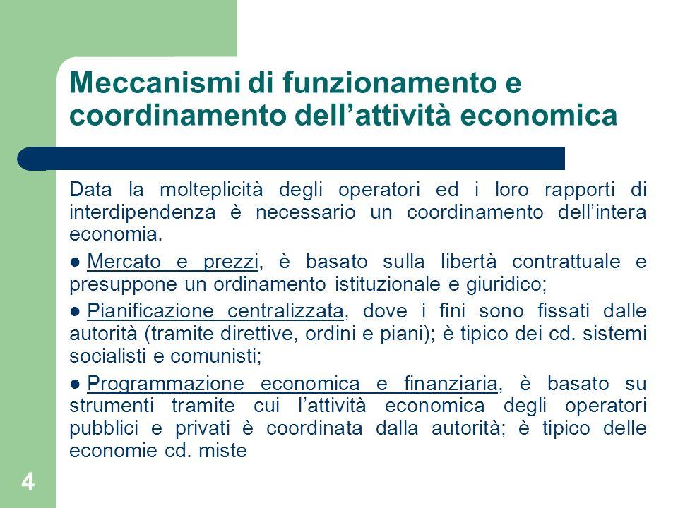 Meccanismi di funzionamento e coordinamento dell'attività economica