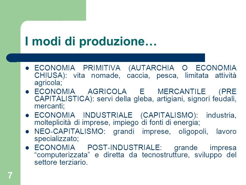 I modi di produzione… ECONOMIA PRIMITIVA (AUTARCHIA O ECONOMIA CHIUSA): vita nomade, caccia, pesca, limitata attività agricola;