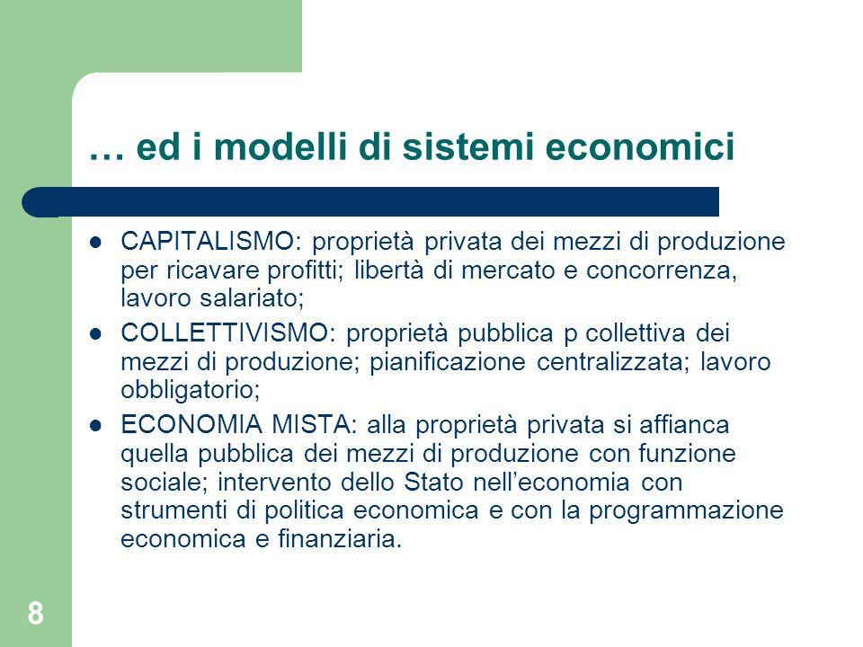 … ed i modelli di sistemi economici