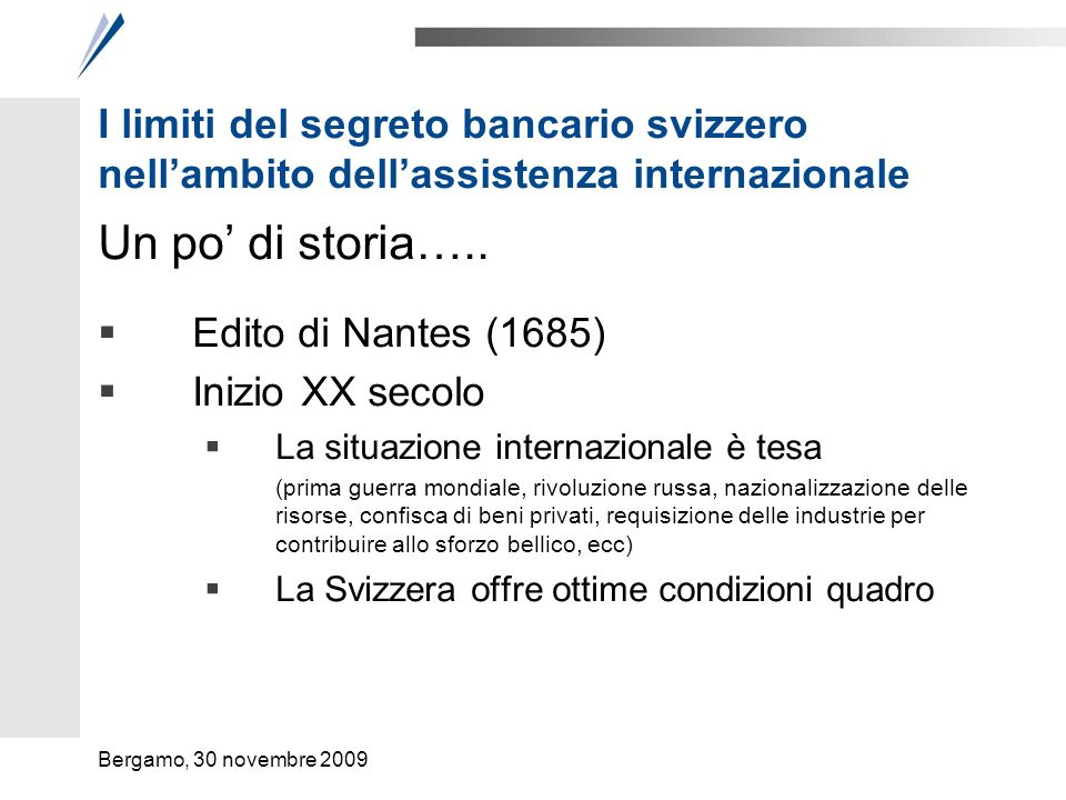 I limiti del segreto bancario svizzero nell'ambito dell'assistenza internazionale