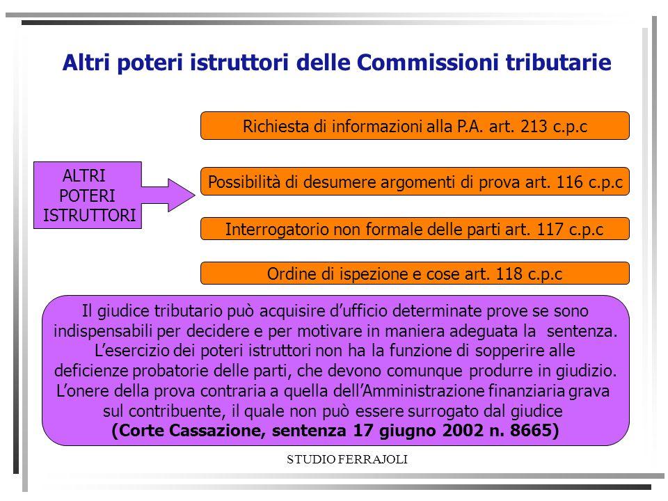 Altri poteri istruttori delle Commissioni tributarie