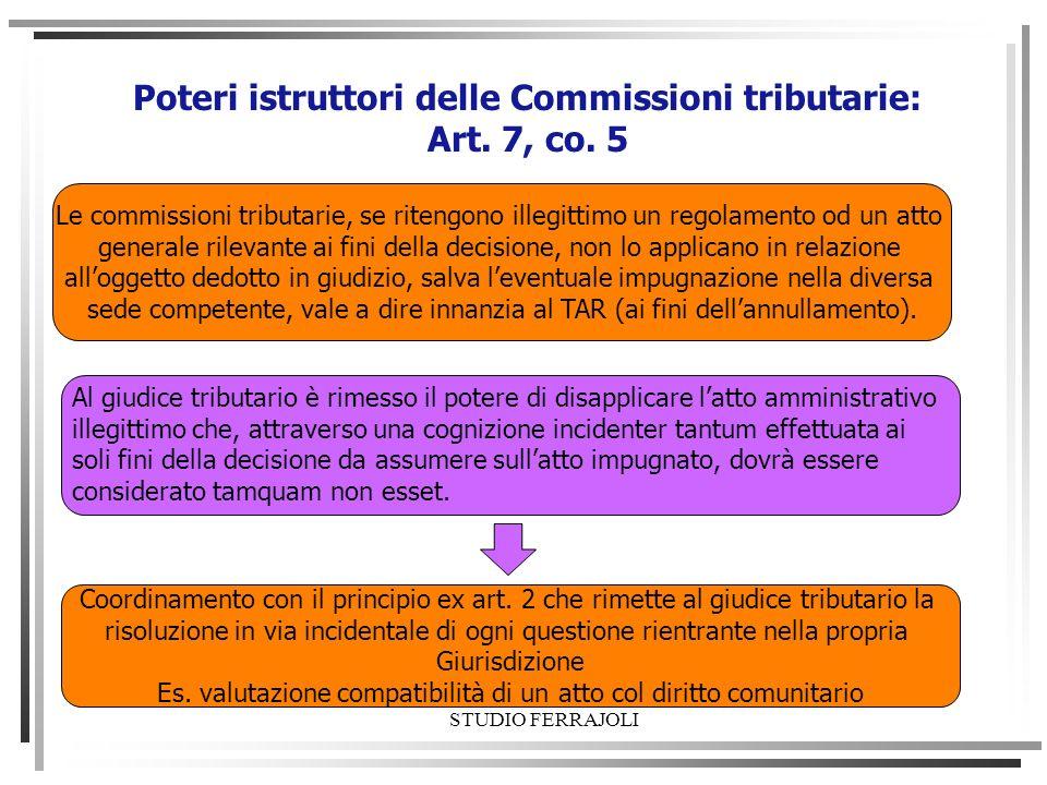 Poteri istruttori delle Commissioni tributarie: