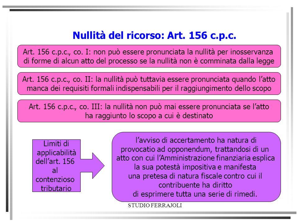 Nullità del ricorso: Art. 156 c.p.c.