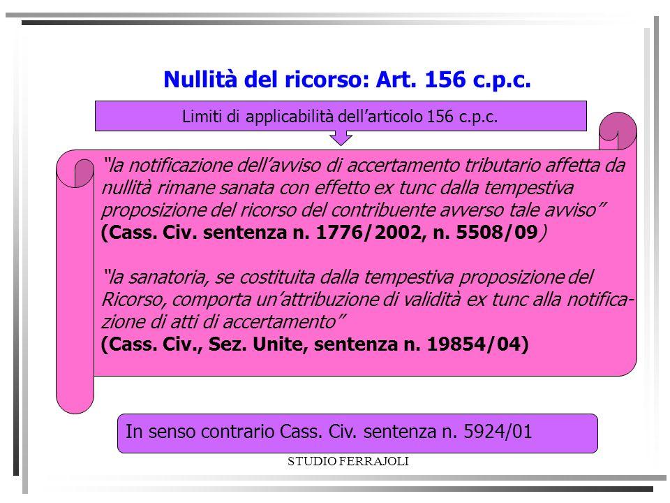 Limiti di applicabilità dell'articolo 156 c.p.c.