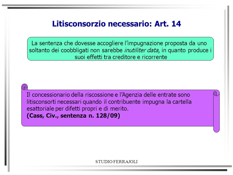 Litisconsorzio necessario: Art. 14