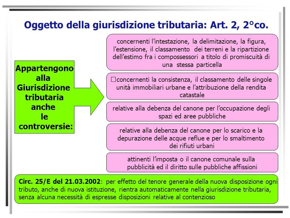 Oggetto della giurisdizione tributaria: Art. 2, 2°co.