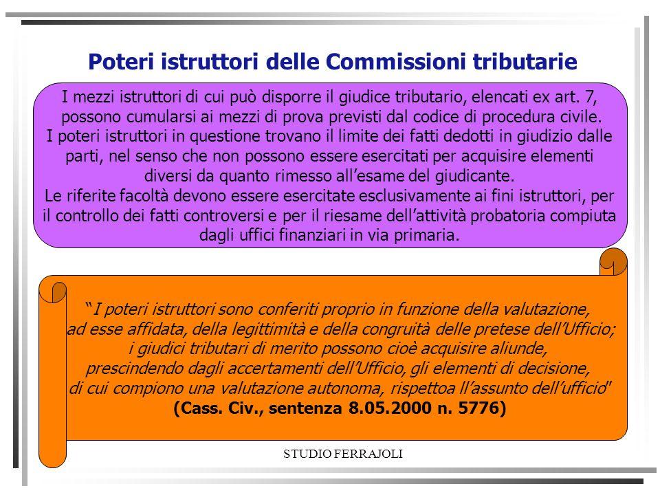 Poteri istruttori delle Commissioni tributarie