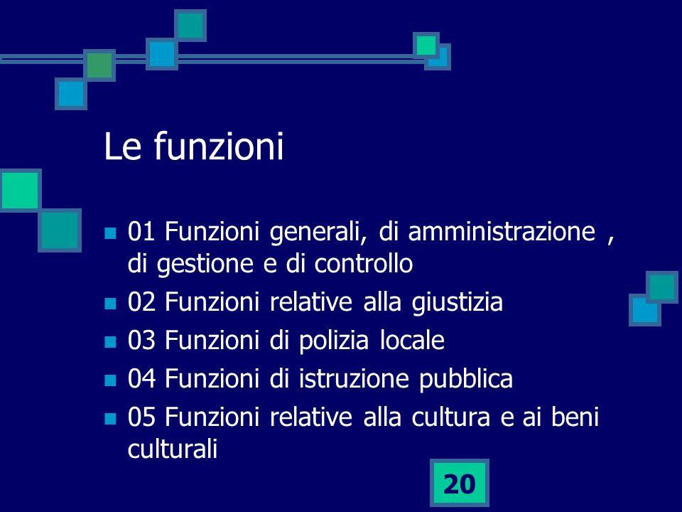 Le funzioni 01 Funzioni generali, di amministrazione , di gestione e di controllo. 02 Funzioni relative alla giustizia.